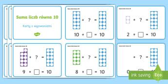 Karty z wyzwaniami Suma liczb równa 10 - numicon, klocki, matematyka, liczenie, dodawanie, odejmowanie, z otworami, przedszkole, klasa, wyzwa