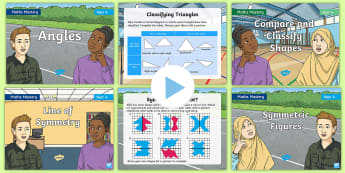 Year 4 Geometry Shape Maths Mastery PowerPoints Resource Pack - Reasoning, Greater Depth, Abstract, Problem Solving, Explanation, symmetry, classifying, 2D