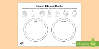 Foods I Like and Dislike Activity Sheet - food, nutrition, vegetables, fruits, tastes, Worksheet