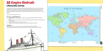 SS Empire Windrush: A Memorable Journey Worksheet - windrush