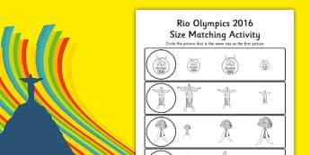 Rio Olympics 2016 Size Matching Worksheets - rio 2016, rio olympics, rio olympics 2016, 2016 olympics, size matching, worksheets