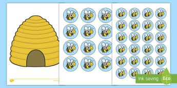 Bee Counters and Beehive Activity Sheet  - Maths, math, numeracy, mathematics, fractions, sharing, share, division, bees, beehive, quarters, th