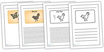 Handa's Hen Black and White Lined Writing Frames - handas hen, handas hen colour and write, handas hen writing frames, handas hen writing templates, colour