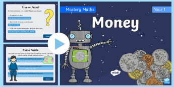 Year 1 Maths Mastery Money PowerPoint - Reasoning, problems, coins, notes, recognise, value, Denominations, Measure, measurement, unit, unit
