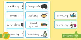 A1 Tarjetas de vocabulario: Pasatiempos en inglés - hobby, hobbies, lengua extranjera, activities, actividades,,Spanish-translation
