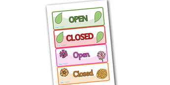 Role Play Open & Closed Signs - Open, Closed, Role Play, topic, activity, shut