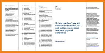School Teachers' Pay and Conditions Guidance - Updated 2017 - Pay and conditions, Teacher's pay, teacher's conditions, Senior Leadership resources, SLT