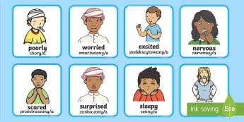 Feelings and Emotions Cards English/Polish - Feelings and Emotions Cards-feelings, emotions, cards, feelings cards, emotion cards, display cards,