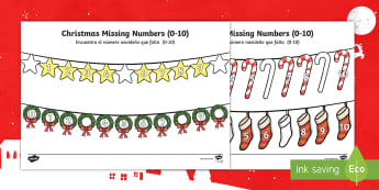 Christmas Missing Numbers Number Line Activity Sheet - English / Spanish - Christmas Missing Numbers Numberline Worksheet (0-10) - Christmas, xmas, missing number, number, ord