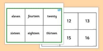 Number & Words Bingo (11-20) - KS1 Number Bingo Game