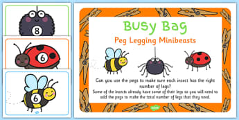 Peg Legging Minibeasts Activity and Prompt Card - peg, legging, minibeasts, activity, prompt card