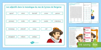 French Literature: Cyrano de Bergerac Activity Pack French - French literature, Cyrano, actvity sheets, Listening, Reading, Adjectives,French