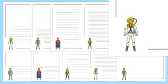 Action Toy Page Borders Pack - traction man, story book, writing templates
