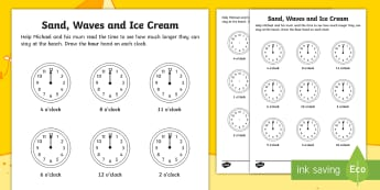 Sand, Waves and Ice Cream Clock Worksheet / Activity Sheet - ROI, Worksheet, Exploring our world, aistear, story, beach, seaside, clocks, worksheet, Irish