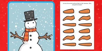 Pin the Nose on the Snowman Activity to Support Teaching on The Snowman - snowman, winter, christmas