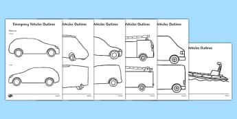 Emergency Vehicles Outlines - Paramedics, ambulance, police, police car, postal worker, post van, fire fighter, fire engine, builder, builder
