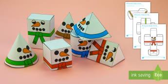 Simple 3D Snowman Shapes Christmas Paper Craft US English/Spanish (Latin) - 3D, shape, cube, cuboid, nets, christmas, snowmen, snowman, esl, eal