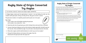 Rugby State of Origin Converted Try Angles Activity Sheet - Australian Sporting Events Maths, ACMMG112, angles, draw angles,rugby, real maths, measure angle, co