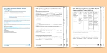 AQA-Style Tropical Rainforests Revision Activity Pack  - Secondary - 15 Minute Revision Activities, Geography, tropical rainforests, climate, water, plants,