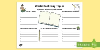 World Book Day Top 5s Activity - world book day, top, 5, activity