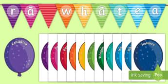 Balloon Themed Birthday Display Pack - birthday, balloons, Te Reo Maori