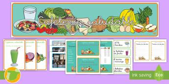* NEW * Pack de juego de rol: Cafetería saludable - alimentos, nutrición, sano, salud, educación, aprendizaje, batidos, café, pirámide alimenticia,