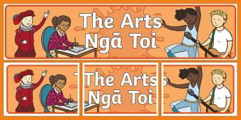 The Arts Display Banner - The Arts, Display Banner, Classroom Management, Signs and Labels, Nga Tohu, Ngā Toi, Te Reo Māori