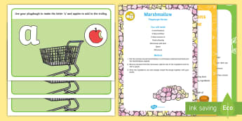 Shopping-Themed Phase 2 Phonics Playdough Recipe and Mat Pack - shops, supermarket, play dough, playdoh, fine motor, malleable