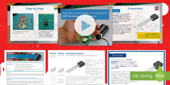Materials Components and Ingredients Lesson 4: LED Christmas Tree - Electronics, Systems & Control, Design Engineering, PCB, LED, Circuits, Manufacturing, Soldering, So