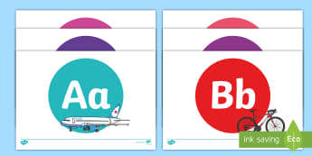 A-Z on Transport - Alphabet frieze, Display letters, Letter posters, A-Z letters, Alphabet flashcards, car, bus, lorry, plane, racing car, train