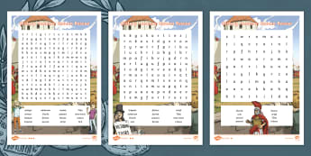 History Hackers: Roman Rescue Differentiated Word Search - vocabulary, meanings, key words, Romans,Words