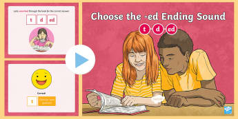 Choose the -ed Ending Sound PowerPoint Game -  Verbs, Past Tense, suffix, reading, Language, Foundational skills, Interactive Learning
