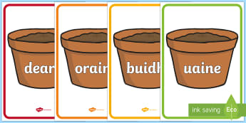 Florist Colours on Plant Pots Display Posters - florist, role play, curriculum for excellence, cfe, colours, plant pots, display posters, display, posters