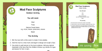 Mud Face Sculptures Outdoor Activity - EYFS Parks and Gardens, playgrounds, forest school, outdoor learning, outdoor classroom, outside, wo