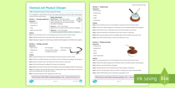 Chemical and Physical Changes Investigation Instruction Sheet  - science, practical, chemical change, Physical change, states of matter, new substances, reactants, p