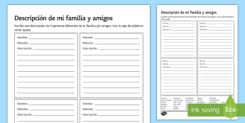 Describe Your  Family And Friends Activity Sheet - Spanish Grammar, adjectives, descriptions, friends, family, agreement,activity, sheet, worksheet, ho
