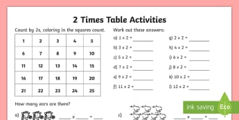 2 Times Table Worksheet / Activity Sheet - Multiplication, Times Tables, 2 Times, 2 times table worksheet