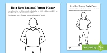 Be a New Zealand Rugby Player Worksheet / Activity Sheet - rugby, new zealand, design, all blacks, team, kit, worksheet,