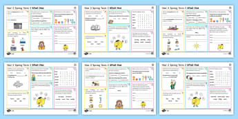 Year 2 Spring Term 2 SPaG Activity Mats - KS1, year 2, SPaG, spelling, punctuation, grammar, reading, writing, activity, mat, independent, pra