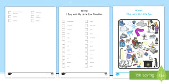 Winter I Spy with My Little Eye Activity - Winter, I Spy, activity, find, treasure hunt, finding, concentration, snow, word recognition,