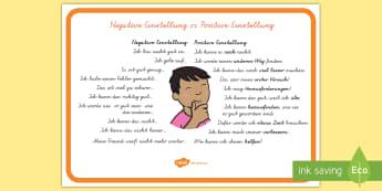 Negative Einstellung vs. Positive Einstellung Poster DIN A4 - positiv, negativ, Motivation, positive Gedanken, Mut machen,German