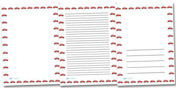 Red Car Portrait Page Borders- Portrait Page Borders - Page border, border, writing template, writing aid, writing frame, a4 border, template, templates, landscape