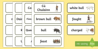 The Brown Bull of Cooley Word Cards - The Brown Bull of Cooley, Irish, legend