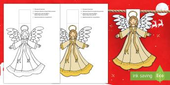 Îngeraș de Crăciun Materiale pentru decupat - Crăciun, activități manuale, jucării de crăciun, machete, decor, Romanian