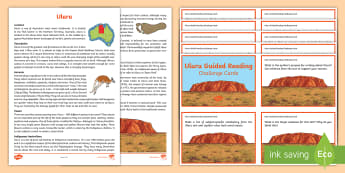 Uluru Guided Reading Challenge Cards - Ayers rock, Australian geography, Australian landmark, comprehension, reading strategies,Australia