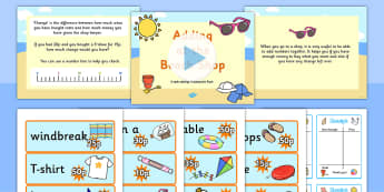 Adding at the Beach Shop Powerpoint Task Setter - adding, addition, addition task setter, addition activity, addition scenario work, beach, seaside, maths