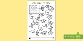 Ficha de tirar y colorear: Los dinosaurios - Dinosaurios, pre-historia, dinos, tiranosaurio, estegosaurio, triceratops, proyectos, aprendizaje ba