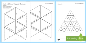 Health and Disease Tarsia Triangular Dominoes - Tarsia, health, disease, lifestyle, infection, immune system, bacteria, fungi, virus, malaria, STI, plenary activity