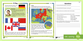 KS1 D-Day Differentiated Reading Comprehension Activity - KS1 & KS2 D Day UK REQUESTS (6.6.17), d day, ks1 d day, D-Day, D Day, world war 2, WW2, WWII, World
