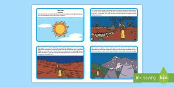 Gnowee The Sun Woman Story Cards - aboriginal, dreamtime, indigenous, Wotjobaluk Tribe, ACSSU004, sunset, sunrise,Australia